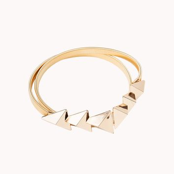 Gold Stretch Spring Coil Fashion Belt With Stacked Triangle Buckle in Gold