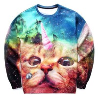 Adorable Kitty Unicorn Cat in Space Digital Print Unisex Pullover Sweatshirt Sweater