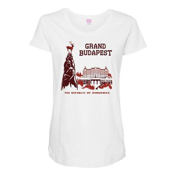 grand budapest hotel Maternity Scoop Neck T-shirt