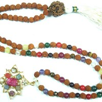 Yoga Jewelry Navratna Nine Planet Stone Rosary Mala Prayer Beads Meditation Pendant Necklace