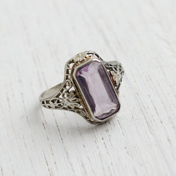 Antique 10k White Gold Filigree Amethyst Purple Ring - Size 3 3/4 Vintage Floral Art Deco 1930s Fine Jewelry / Oblong Rectangle