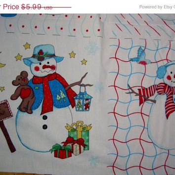 "Christmas pillow panels squares  Snowman  fabric 18"" quilting sewing material BTHY"