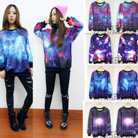 Fashion Galaxy Patterned Cardigan Jacket Coat Sweatshirt