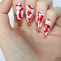 Blood splatter coffin nails, Halloween nails, Fake nail, Stiletto nail, Kylie jenner, Black stiletto nail, Press on nail, Acrylic nail