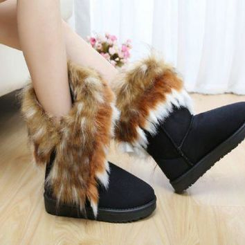 ESBIH3 New snow boots imitation fox fur boots in the tube women's boots