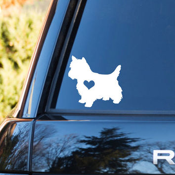 Yorkie Heart Decal | Yorkie Mom Decal | Yorkie Dog Mom Decal | Dog Dad Decal | Dog Family Decal | Love Sticker | Love Decal  | 200