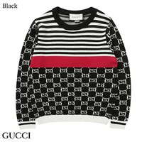 GUCCI 2018 autumn and winter color matching striped jacquard sweater Black