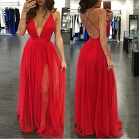 Red Plunge Evening Dress