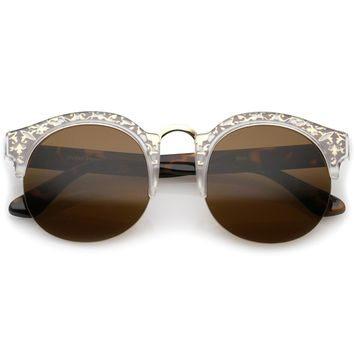 Ornate Metal Detail Wide Temple Half Frame Round Semi-Rimless Sunglasses 52mm