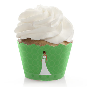 Custom Bride Green - Bridal Shower Cupcake Wrappers
