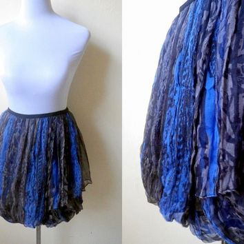 blue and gray printed wrap skirt or swimsuit cover up (free size)