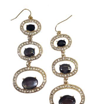 Circle Earrings with Floating Gems