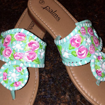 Jack Rogers inspired sandal painted in a Lilly Pulitzer like design.