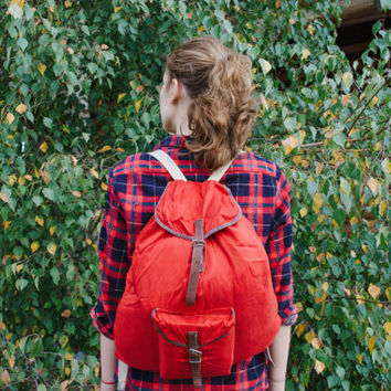 Red Hiking Rucksack / Soviet Vintage Travel Canvas Backpack, Real Leather Straps / Lightweight Small Camping / Scout / Explorer Bag, USSR