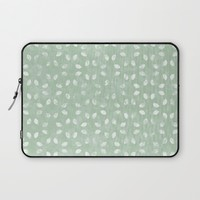 Sage Green White Petals  Laptop Sleeve by KCavender Designs