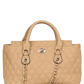 Carrie Quilt Handbag- Taupe-FINAL SALE