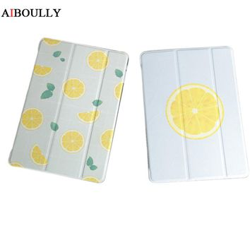AIBOULLY Lovely Cute Delicate Cartoon Lemon Cover for iPad Mini 1 2 3 Stand Case for iPad Air 1 2 Shockproof Fundas