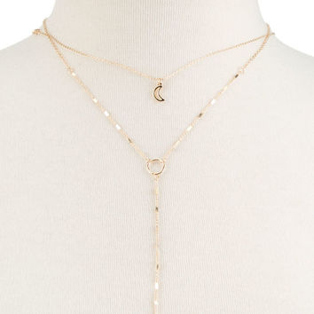 FULL TILT Moon Lariat Necklace