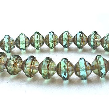Ten green Czech glass saturn beads, 8mm x 10mm transparent light aqua green picasso faceted saucer beads C0411