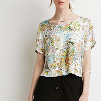 Abstract Floral Print Top