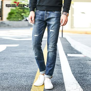 Seven7 Hip Hop Mens Skinny Jeans Distressed Ripped Jeans For Men Biker Slim Denim Overalls Male Stretch Pants Trousers 113S88130