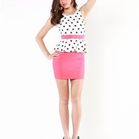A'GACI Polka Dot Peplum Dress - Dresses