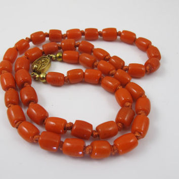 Chinese Coral Bead Necklace, Hand Knotted Barrel Shaped Beads, Dark Salmon Bamboo Coral Jewelry, Vintage 1930s Chinese Export Coral Jewelry