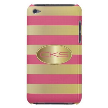Pink and Gold Stripes | Monogram | DIY Color iPod Case-Mate Cases