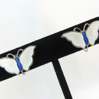 Vintage Sterling Silver Enamel Earrings Guilloche Butterfly Mid Century Modern White & Blue Enamel Sterling Silver Jewelry