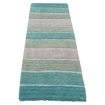 Soft & Absorbent Stripe Pattern Bath Runner In Cotton, Turquoise Blue