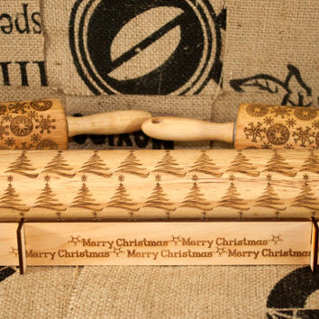 Christmas Tree design, Rolling Pin - laser engraved embossing pin! Includes *BONUS* custom design display holder too!