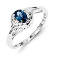 Sterling Silver Genuine Diamond & Sapphire Ring