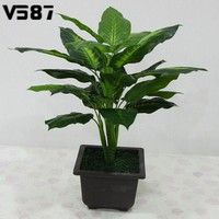 Large 50cm Evergreen Artificial Plant 25 Leaves Lifelike Bush Potted Plants Plastic Green Tree Home Garden Office Decoration