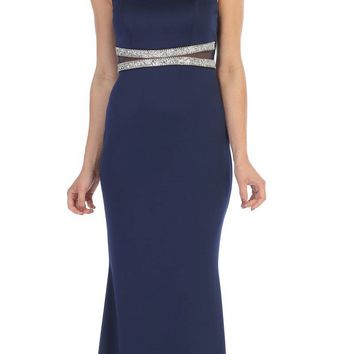 Navy Blue Long Formal Dress Sheer Embellished Waist