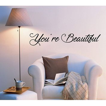 Vinyl Wall Decal Stickers Motivation Quote Words You're Beautiful Inspiring Letters 2030ig (22.5 in x 4 in)