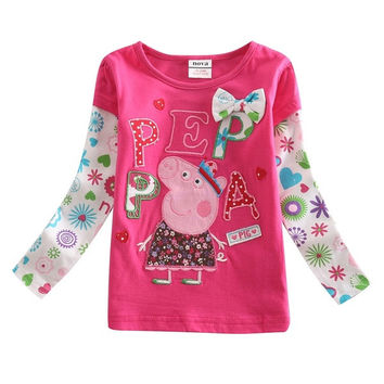 peppa pig girls t shirt  long sleeve applique kids girls cotton tops = 1930323332