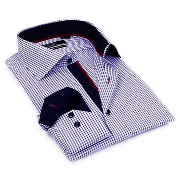 LVS by Levinas Tailored-Fit Gingham-Checked Spread-Collar Dress Shirt - Men, Size: