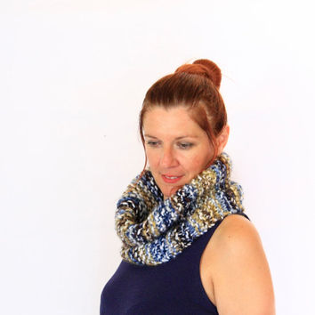 Snood chunky cowl, Eris, blue beige neutral snood chunky cowl women winter fashion, ready to ship