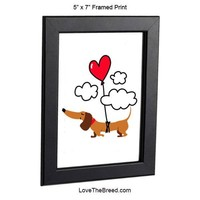 Dachshund Up Up and Away Heart Balloon Brown Framed Print 5 x 7
