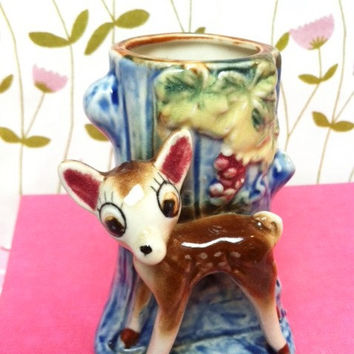 Vintage, deer figurine vase! Cute, kitsch china, woodland Bambi fawn planter/ canister!