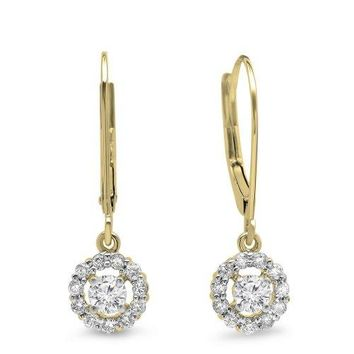 14K Yellow Gold Round Cut Diamond Cluster Drop Earrings