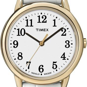 Timex Womens White Leather Strap Watch EZ Reader