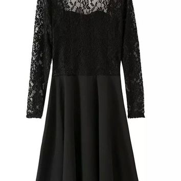 Sexy Lace Dress Vintage front heart shape Backless bow tie long sleeve casual brand dress