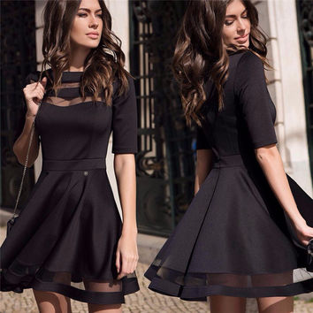2016 Women Summer Autumn Style Sexy Casual Dress Black Short Sleeve O-neck Vintage Party Dresses
