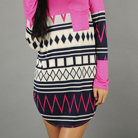 Fuchsia & Navy Aztec with Pocket