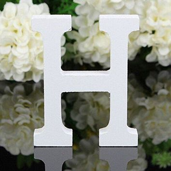Decorative Wood Letters,Totoo Hanging Wall 26 Letters Wooden Alphabet Wall Letter for Children Baby Name Girls Bedroom Wedding Brithday Party Home Decor-Letters (H)