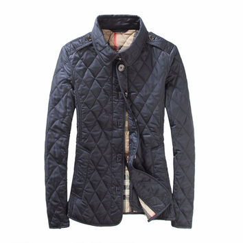 British Style New Quilted Jackets Brand 2017 Women's Winter Jacket Slim Fiting Jacket Outwear Plus Size XXXL