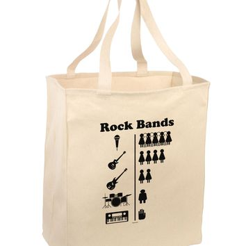 Rock Band Pictograph Large Grocery Tote Bag