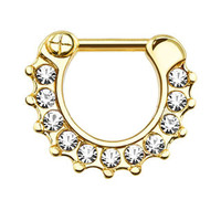 CZ Gem Paved Color IP Septum Clicker Ring
