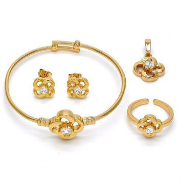 Gold Layered 06.228.0004 Earring and Pendant Children Set, Flower Design, with White Cubic Zirconia, Polished Finish, Golden Tone